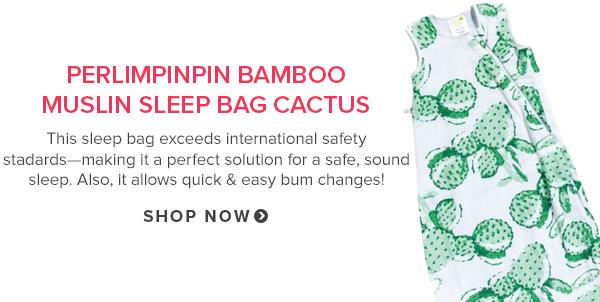 Perlimpinpin Bamboo Muslin Sleep Bag Cactus